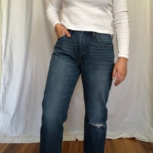 Madewell / Ripped knee straight leg jeans